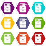 Multipurpose device, fax, copier and scanner icon set color hexahedron Stock Images