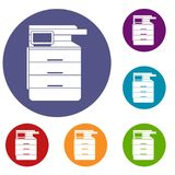 Multipurpose device, fax, copier and scanner icons Royalty Free Stock Photos