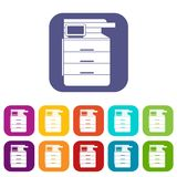 Multipurpose device, fax, copier and scanner icons Royalty Free Stock Image