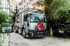 Drain Cleaning Truck. Multipurpose drain cleaning truck that belongs to local municipality of a small summer town named Cinarcik located in Marmara region of the Royalty Free Stock Photos