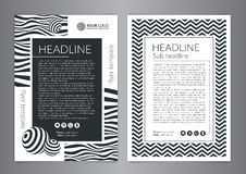 Multipurpose Flyer Layout with Black and white curved lines with spheres. Modern Backgrounds. Stock Photo