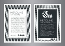 Multipurpose Flyer Layout with Black and white curved lines with spheres. Modern Backgrounds. Stock Image