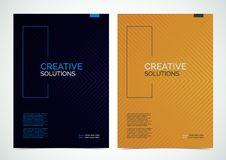 Multipurpose Flyer Layout with halftone lines background. Vector illustration Stock Image