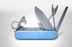 Multipurpose Penknife. A close up view of a multipurpose penknife with a blade and saw on an  studio background Stock Photography