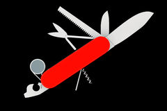 Multipurpose pocket knife. Military red knife Royalty Free Stock Images