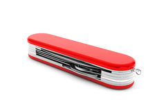 Multipurpose pocket knife. Military red knife. On a white background Royalty Free Stock Photo