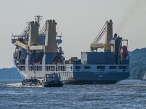 Ship leaving the Port of Hamburg. Multipurpose ship Anne-Sofie on the Elbe outbound from the Port of Hamburg, Germany stock photography