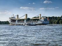 Ship leaving the Port of Hamburg royalty free stock photography