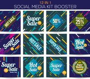 Multipurpose social media kit booster Stock Photo