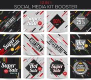 Multipurpose social media kit booster. Modern stripes multipurpose social media kit booster. Available in 12 alternate design, suitable for your promotion Stock Images