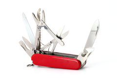 Multipurpose Swiss army knife on white Royalty Free Stock Image