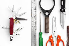 Multipurpose tools. Swiss knife and many tools. Concept all in one, teamwork, multipurpose stock image