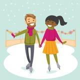Multiraciaal paar die op ijsbaan in openlucht schaatsen Stock Afbeelding
