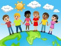 Multiracial земля руки руки детей детей иллюстрация вектора