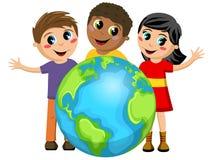 Multiracial изолированная земля детей детей иллюстрация штока