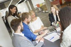 Multiracial предприниматели имея встречу в конференц-зале Стоковые Изображения RF