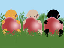 Multiracial babies with appless. Three multiracial babies with apples on grass Royalty Free Stock Photo