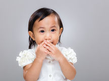 Multiracial baby keep quiet Stock Photos
