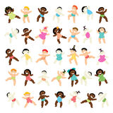 Multiracial baby walking collection Royalty Free Stock Photo