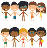 Multiracial beach people standing and holding hands. Stock Photo