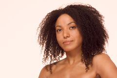 Multiracial beauty, ethnic black and Spanish mix. Mid adult ethnic woman of mixed racial background African-American and Latina Royalty Free Stock Image