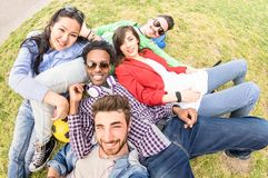 Free Multiracial Best Friends Taking Selfie At Meadow Picnic - Happy Friendship Fun Concept With Young People Millenials Having Fun Stock Image - 138086301
