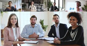 Multiracial business people group participating conference video call meeting