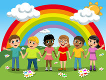 Multiracial Children kids hand in hand meadow rainbow Royalty Free Stock Photography