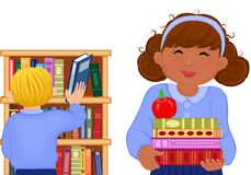Multiracial children at the school library. Back to School - raster illustration of multiracial children studying at the library. Vector file saved as EPS AI8 Vector Illustration