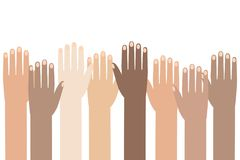 Multiracial Colorful Peoples` Hands Raised. Illustration of Human Rights Day background. Multiracial Colorful Peoples` Hands Raised. Vector illustration of Stock Photos