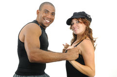 Multiracial couple dancing isolated Royalty Free Stock Photography