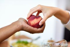 Multiracial couple hands with peach Royalty Free Stock Images
