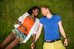 Multiracial couple in the park Royalty Free Stock Photography