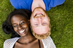 Multiracial couple in the park Stock Photo
