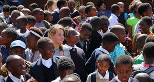 Multiracial dziecko w wieku szkolnym w Południowa Afryka Zdjęcie Stock