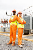 Multiracial electrical co-workers Royalty Free Stock Image