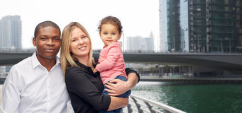 Multiracial family with little child in dubai Royalty Free Stock Photography