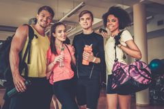 Multiracial friends after aerobics class. Multiracial group after aerobics class Royalty Free Stock Photos