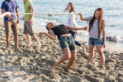 Multiracial Friends at Beach Stock Image