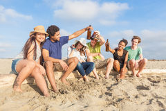 Multiracial Friends at Beach. Multiracial Group of Friends at Beach royalty free stock photo