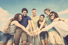 Multiracial Friends at Beach Stock Photo