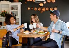 Multiracial friends eating in a cafe Royalty Free Stock Photography