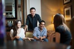 Multiracial friends gathering Stock Photo