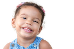 Multiracial girl laughing isolated on white Stock Photo
