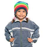 Multiracial girl wearing a jacket and a beanie hat Stock Photos