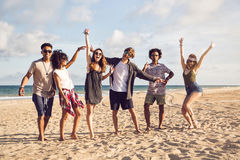 Multiracial group of friends enjoying a day at beach. And jumping Stock Image