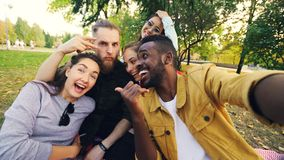Multiracial group of friends is taking selfie in park sitting on blanket, posing and looking at camera. African American stock image