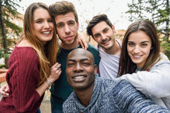 Multiracial group of friends taking selfie Royalty Free Stock Image