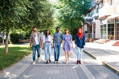Multiracial group of friends walking in the street. royalty free stock image