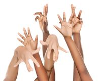 Multiracial group of hands african hispanic coloured royalty free stock images